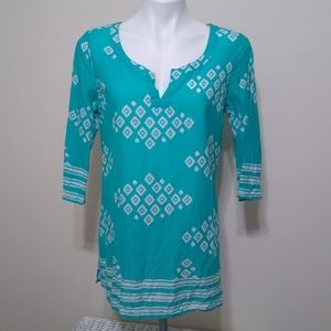 Old Navy Teal and White Block Print Tunic
